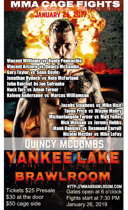 Yankee Lake BrawlRoom! Fight Night 2 at Quaker Steak and Lube Sharon, PA Pro MMA Fights